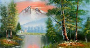 صورة رسم منظر طبيعي , جمال رسومات المناظر الطبيعية