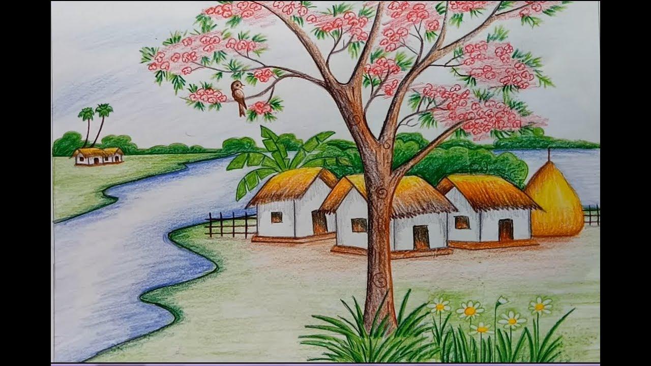 صورة رسم منظر طبيعي باليد , اجمل رسومات لمناظر طبيعيه مرسومه باليد