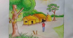صورة رسم منظر طبيعي سهل للاطفال , رسومات بسيطة للصغار