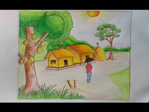 صور رسم منظر طبيعي سهل للاطفال , رسومات بسيطة للصغار