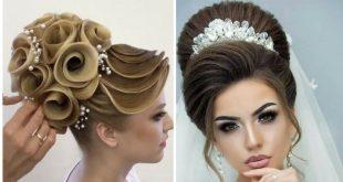 صورة تسريحات شعر عروس , أشكال فورمات شعر طويل لعروس 2020